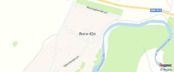 Култая улица на карте деревни Янги-Юл с номерами домов