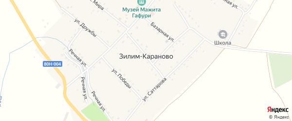 Улица Победы на карте села Зилим-Караново с номерами домов