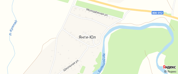 Учительская улица на карте деревни Янги-Юл с номерами домов