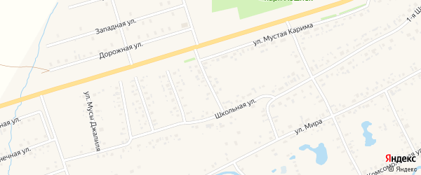 Улица Мусы Джалиля на карте села Аскино с номерами домов