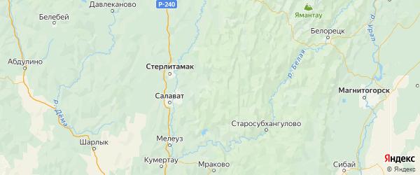 Карта Ишимбайского района республики Башкортостан с городами и населенными пунктами