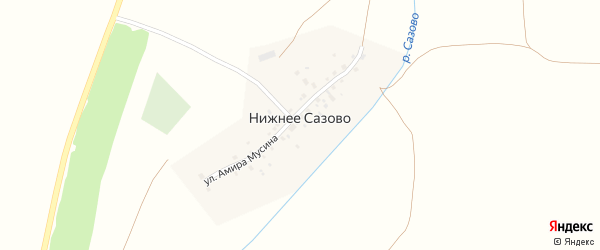 Улица Амира Мусина на карте деревни Нижнее Сазово с номерами домов