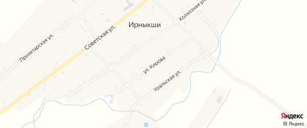 Улица Кирова на карте села Ирныкши с номерами домов