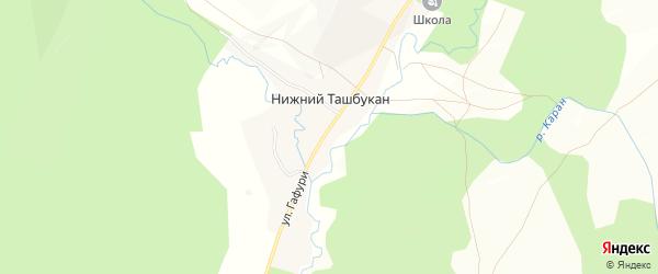 Карта села Нижнего Ташбукана в Башкортостане с улицами и номерами домов