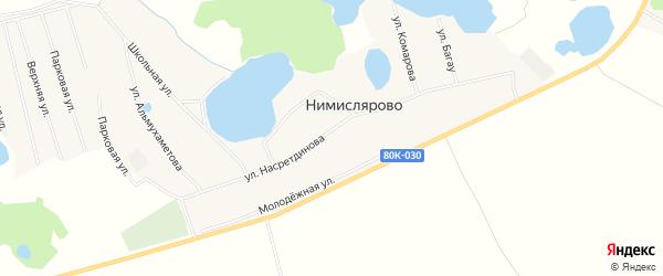 Карта села Нимислярово в Башкортостане с улицами и номерами домов
