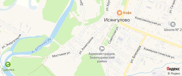 Переулок Ахметшина на карте села Исянгулово с номерами домов