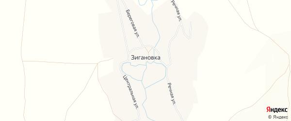 Карта села Зигановки в Башкортостане с улицами и номерами домов