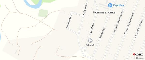 Береговая улица на карте села Новопавловки с номерами домов