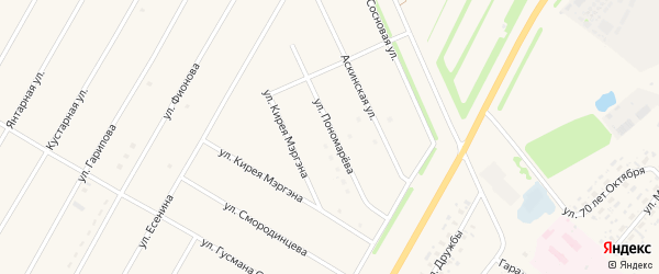 Улица Пономарева на карте села Аскино с номерами домов