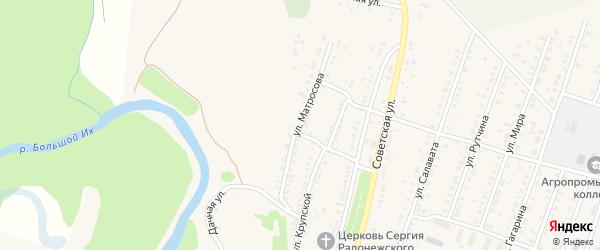 Улица Матросова на карте села Исянгулово с номерами домов
