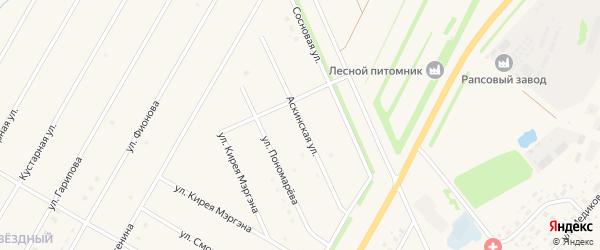 Аскинская улица на карте села Аскино с номерами домов