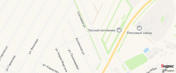 Сосновая улица на карте села Аскино с номерами домов