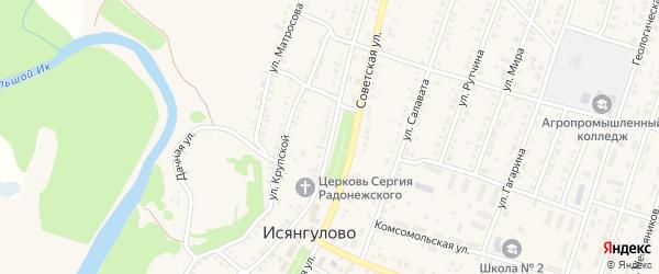 Советская улица на карте села Исянгулово с номерами домов