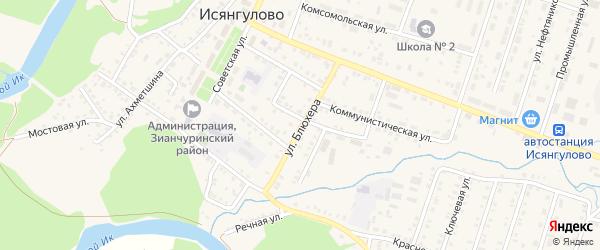 Улица Блюхера на карте села Исянгулово с номерами домов