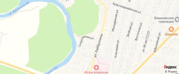 Спортивная улица на карте села Исянгулово с номерами домов
