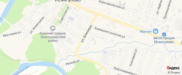 Переулок Блюхера на карте села Исянгулово с номерами домов