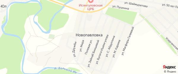 Карта села Новопавловки в Башкортостане с улицами и номерами домов