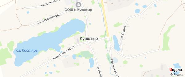 Заречная 2-я улица на карте села Куяштыра с номерами домов