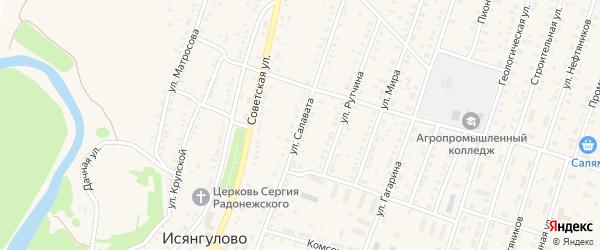 Улица Салавата на карте села Исянгулово с номерами домов
