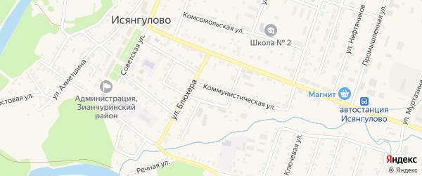 Коммунистическая улица на карте села Исянгулово с номерами домов