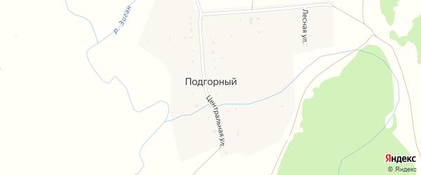 Центральная улица на карте деревни Подгорного с номерами домов