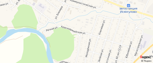 Красноармейская улица на карте села Исянгулово с номерами домов
