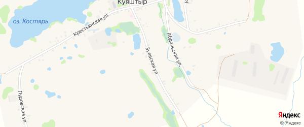 Зуевская улица на карте села Куяштыра с номерами домов