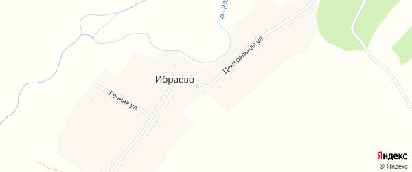 Центральная улица на карте деревни Ибраево с номерами домов