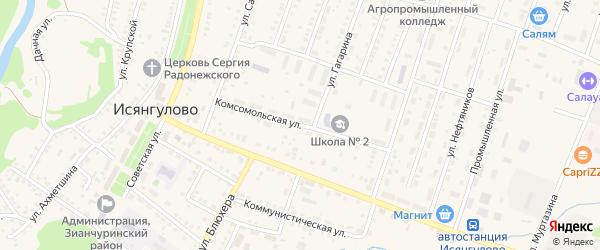 Комсомольская улица на карте села Исянгулово с номерами домов