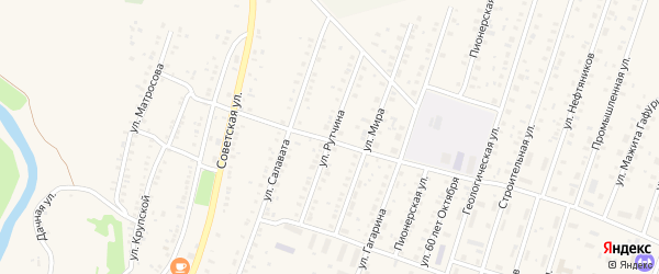 Улица Рутчина на карте села Исянгулово с номерами домов