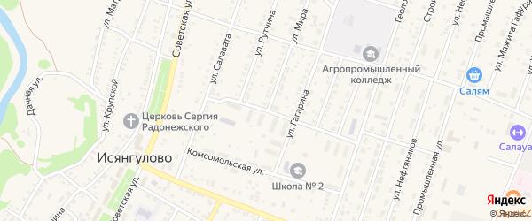 Улица Чекмарева на карте села Исянгулово с номерами домов