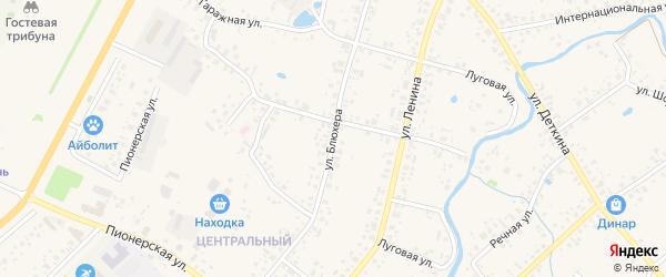 Улица Блюхера на карте села Аскино с номерами домов