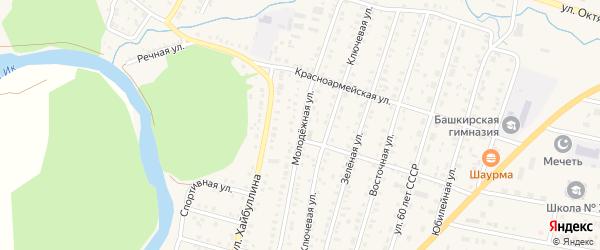 Молодежная улица на карте села Исянгулово с номерами домов