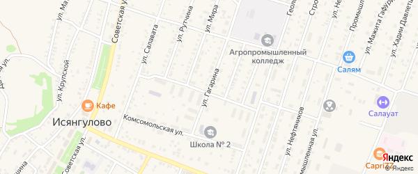Улица Гагарина на карте села Исянгулово с номерами домов