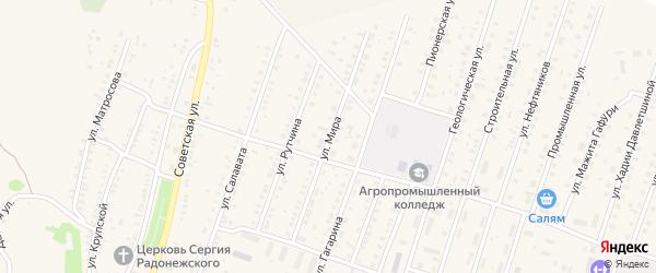 Улица Мира на карте села Исянгулово с номерами домов