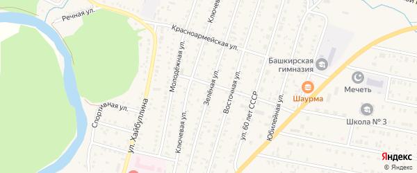 Зеленая улица на карте села Исянгулово с номерами домов