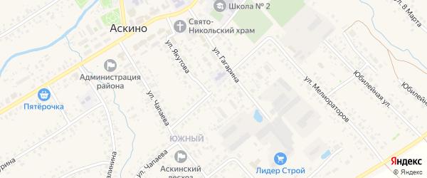 Промышленная улица на карте села Аскино с номерами домов