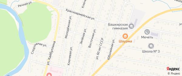 Восточная улица на карте села Исянгулово с номерами домов