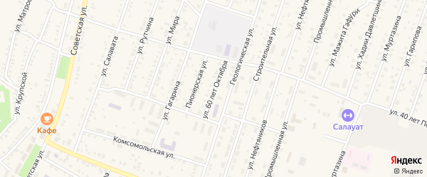 Улица 60 лет Октября на карте села Исянгулово с номерами домов