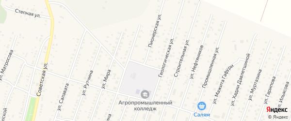 Пионерская улица на карте села Исянгулово с номерами домов