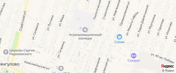 Геологическая улица на карте села Исянгулово с номерами домов