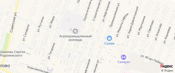 Строительная улица на карте села Исянгулово с номерами домов