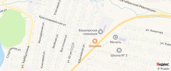 Юбилейная улица на карте села Исянгулово с номерами домов