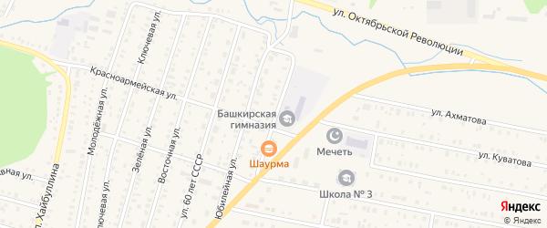 Магистральная улица на карте села Исянгулово с номерами домов