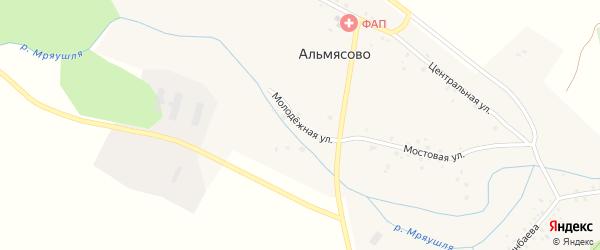 Молодёжная улица на карте деревни Альмясово с номерами домов