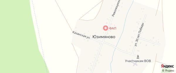 Казанская улица на карте деревни Юзимяново с номерами домов