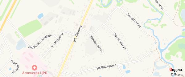 Заводская улица на карте села Аскино с номерами домов