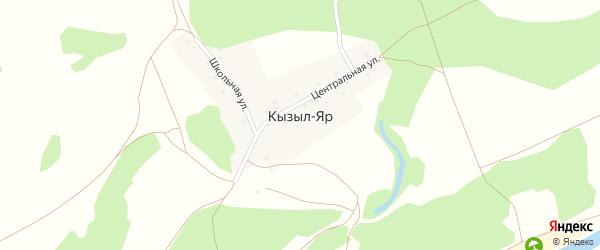 Школьная улица на карте деревни Кызыла Яра с номерами домов