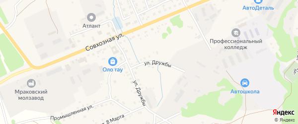 Улица Дружбы на карте села Мраково с номерами домов