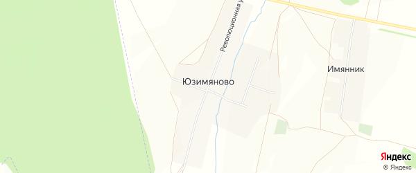 Карта деревни Юзимяново в Башкортостане с улицами и номерами домов